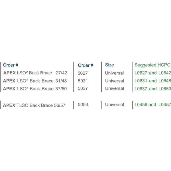APEX LSO² & APEX TLSO Back Brace